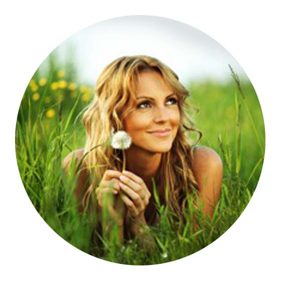 Smiling woman with dandilion for Individual therapy